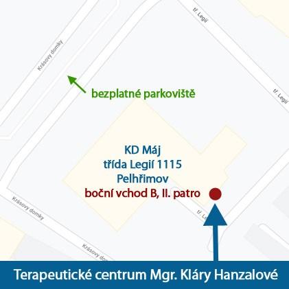 Terapeutické centrum Mgr. Klára Hanzalová - mapa Pelhřimov